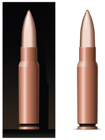 Machine gun cartridge. Only blends and gradients are used. Illustration