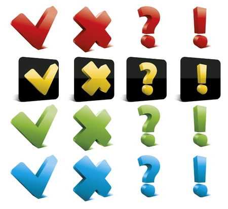 Set of glossy tick, cross, question and exclamation marks icons.