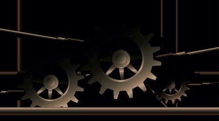 Industrial steampunk background. Illustration