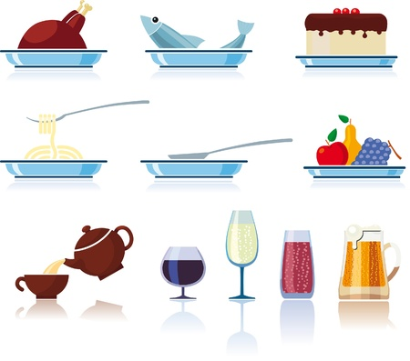 Food and beverages vector icons set isolated over white background. Illustration
