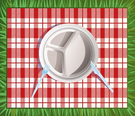 Paper picnic plate.  All objects are in separate layers and grouped individually. Very easy to edit.