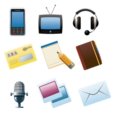 Set of Communication and media icons. Stock Vector - 9664174