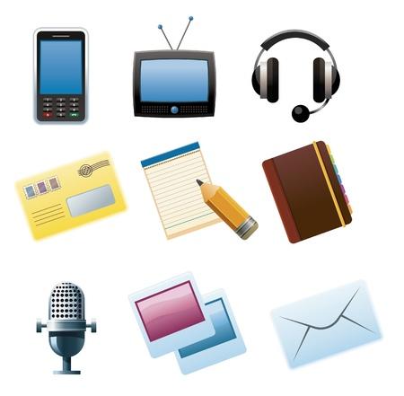 Set of Communication and media icons.
