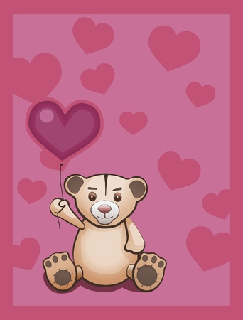 Teddy bear and red heart balloon. Card with text area. All objects are grouped and layered.