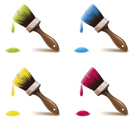 a brush: Set of four paintbrushes
