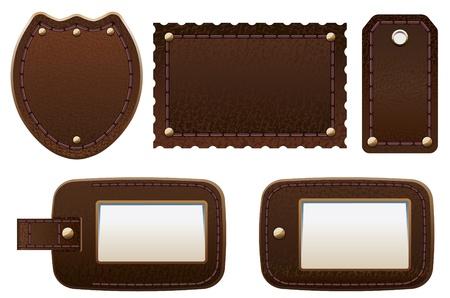 rivet: Набор кожаных ярлыками и бирками.