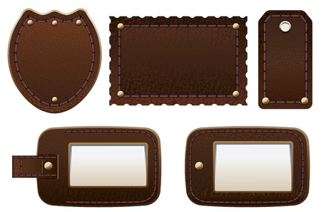 Set of leather labels and tags. Illustration