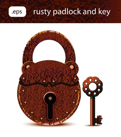 Vector illustration of rusty padlock and key.Each element is on its own layer for easy editing.Linear gradients only used in this illustration. Illustration