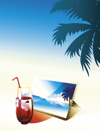 Glass of coctail and photo on the beach. Vector