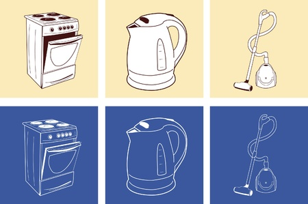 Home appliance: oven, kettle and vacuum cleaner