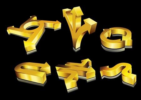 Set of 3D golden arrows.