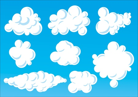 Vector Illustration of cartoon  funny clouds.