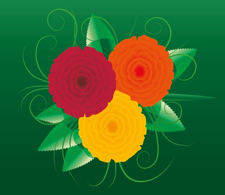 Three roses on green background. Stock Vector - 9713525