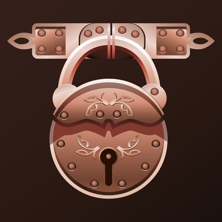 Vector illustration of vintage padlock.
