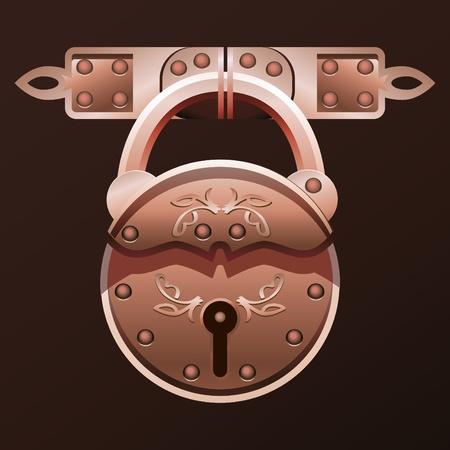 Vector illustration of vintage padlock.