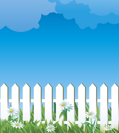 Illustration of summer day with white fence, grass and daises.