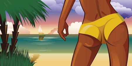 Beautiful sexy woman on tropical beach. Vector