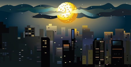 large house: Full moon at the city. Illustration