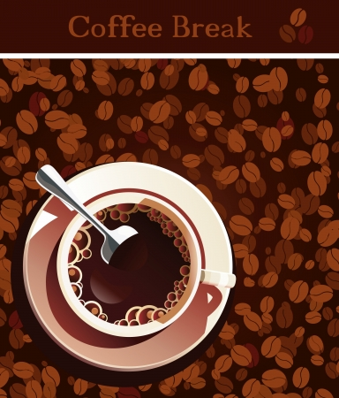 Cup of coffee and coffee grains. Vector