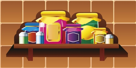 grocery shelves: Jars and cans on the kitchen shelf.