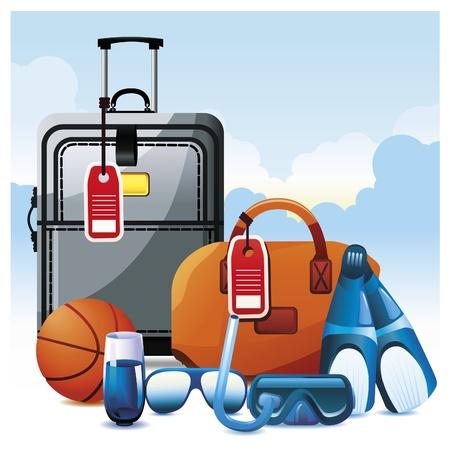 snorkel: Kleurrijke Vakantie Icon Set. Stock Illustratie