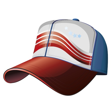 Vector illustration of baseball cap with stars and stripes.