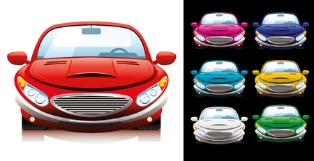 A set of seven sport cars of different colors.  Vector