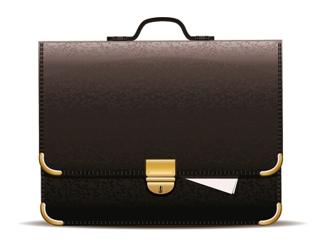 Vector illustration of black leather briefcase. Vector