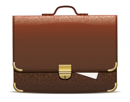 Vector illustration of brown briefcase.