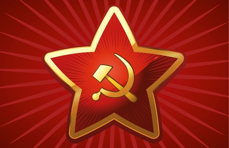 communism: Soviet Red Star on red background.