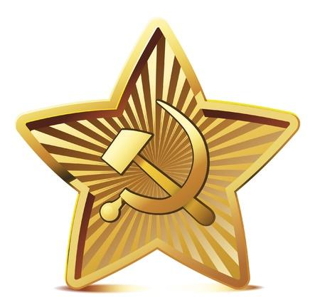Vector soviet golden star. Stock Vector - 9808228