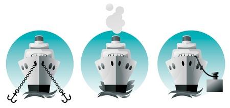 Ship in the harbor, at sea, at anchor