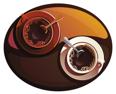 Two cup of coffee on Yin Yang table. Vector