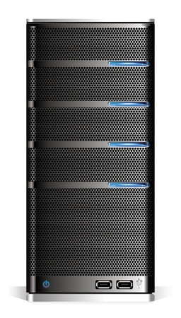 Detailed computer server isolated on white background.