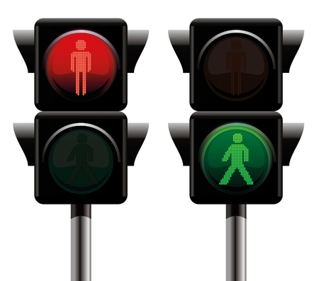 city lights: Vector illustration of LED traffic lights.