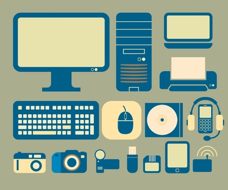 icons with a computer and electronics theme. Illustration