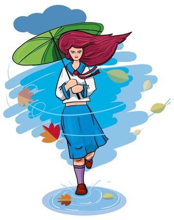 redheaded: A girl with an umbrella in the rain runs. Illustration