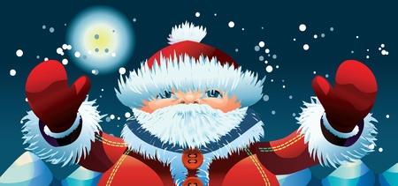 Santa Claus at the North Pole at New Years night Illustration