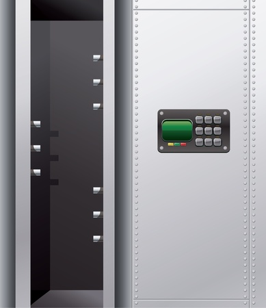 depository: Illustration of a empty metal safe with digital lock.