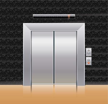 Passenger elevator with closed doors. Illustration