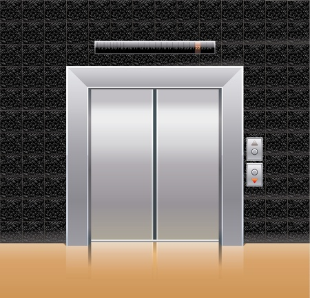 open doors: Passenger elevator with closed doors. Illustration