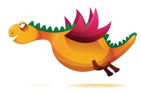 illustration of funny yellow dragon. Illustration