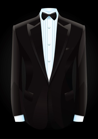 illustration of a black tuxedo and bow tie