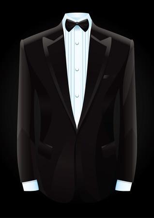 ilustración de un esmoquin negro y pajarita