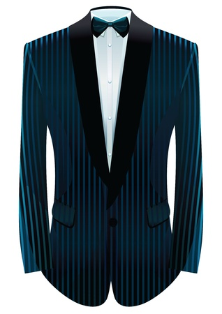 formal blue: illustration of striped tuxedo and neck-tie.