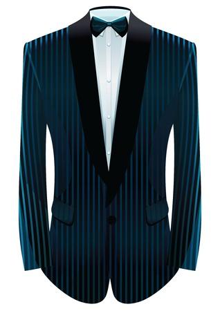 dress coat: illustrazione di tuxedo a righe e cravatta. Vettoriali