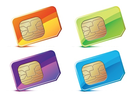 telecommunication equipment: illustration of color SIM Cards. Illustration