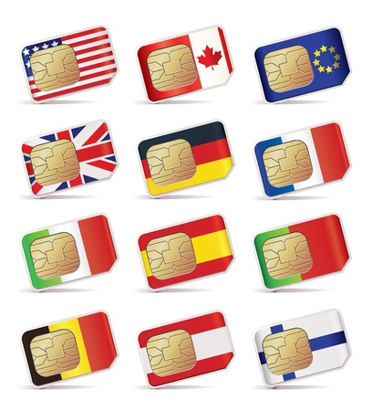 sim: illustration of SIM Cards with flags.