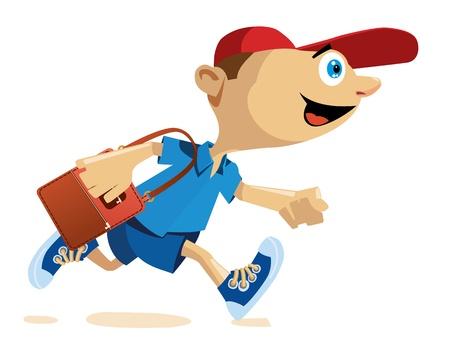 Boy running with a school bag