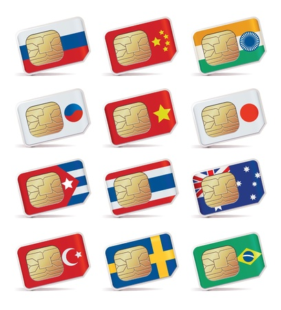 illustration of SIM Cards with flags. Vector